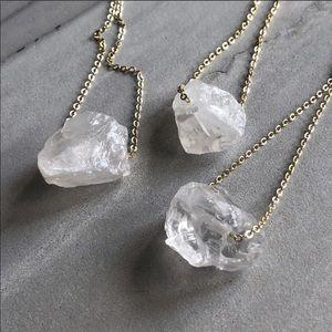 Jewelry - Handmade Raw Crystal 14k Gold, Boho Necklace